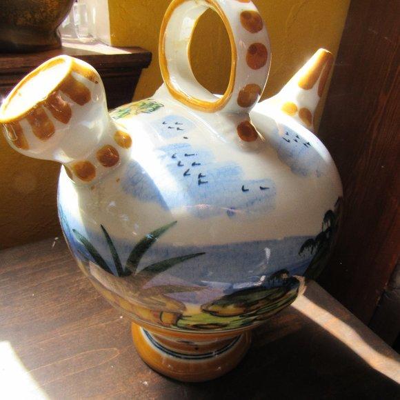 Vintage Spanish Ceramic Pitcher Landscape Design